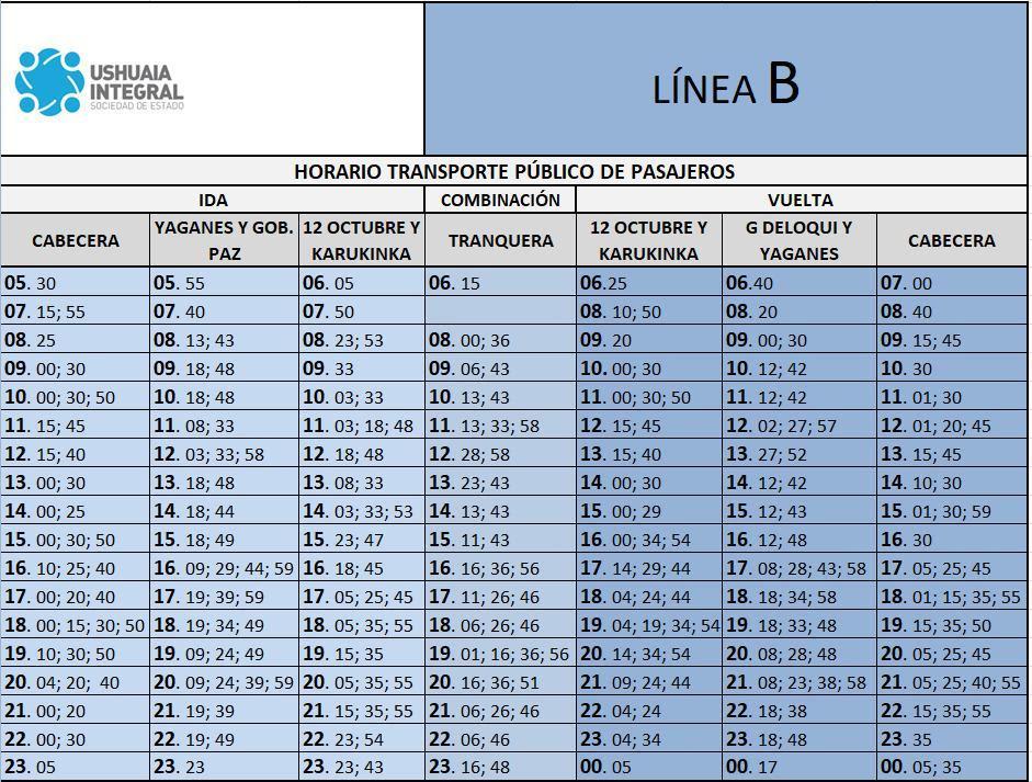 Horario colectivos Ushuaia (2)